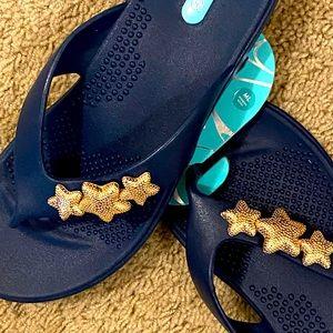 OKA-NWT Navy Blue Sandals with Cute Star design!